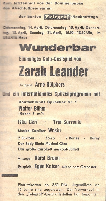 60b093a2 Zarah Leander Gastpsiel in Berlin, April 1963